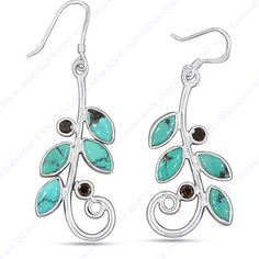 TURQUOISE, SMOKY QUARTZ 925 SILVER EARRING