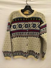 FIGGJO NORWAY Womans True Vintage 100% Wool Cardigan Sweater Size S-M