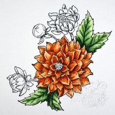 Dahlias 9 kaj with copics tutorial on flourishes.org
