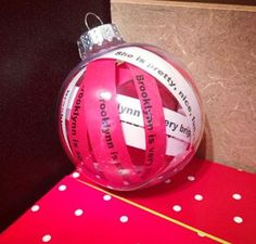 Classroom Creations: Bucket filler ornament! Type the nice things student say about each other, print, cut in to strips, and place in ornament. A great Christmas gift for students!