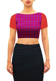 Boat neck blouse in purple, pink and red multicolor checkered chanderi cotton with orange red sleeves and back collar