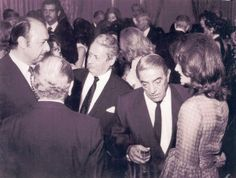 During a visit to Tehran, Iran, Ari and Jackie Onassis attended a cocktail party with the city's Greek community leader Dimitris Keletsekis,. Greek Ambassador Papadopoulos and Alexis Minotis, who stands next to Ari. (Getty)