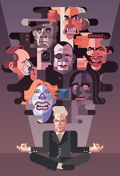 """Arch Nemesis"" tribute to David Lynch's villains by artist Daniel Nyari!  A wonderful assembly of antagonists his films have spawned. #Art #TwinPeaks"
