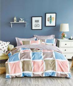 Lososové obojstranné posteľné prádlo so štvorcami