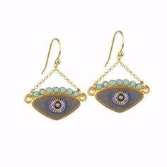 Our evil eye gold plated 925 silver earrings have grey enamel and a vintage glass bead. The upper part carries turquoise beads. Wear them everyday; they are the best casual accessory. Evil Eye Earrings, Drop Earrings, 925 Silver Earrings, Turquoise Beads, Glass Beads, Pairs, Eyes, Gold, Enamel