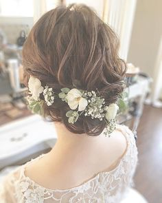 Medium, Beachy Waves with Ombre Highlights - 40 On-Trend Balayage Short Hair Looks - The Trending Hairstyle Romantic Wedding Hair, Flower Crown Wedding, Short Wedding Hair, Bride Hair Flowers, Best Bob Haircuts, Trending Hairstyles, Bride Hairstyles, Pretty Hairstyles, Textured Hair