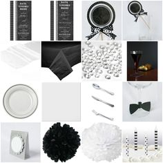 Adult Birthday Black & White Standard Party-in-a-box