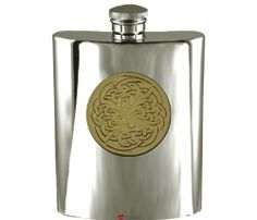 Really Useful Gifts 6oz Chrome Hip Flask with Antique Pewter Westie Dog Emblem with Gift Box and Funnel
