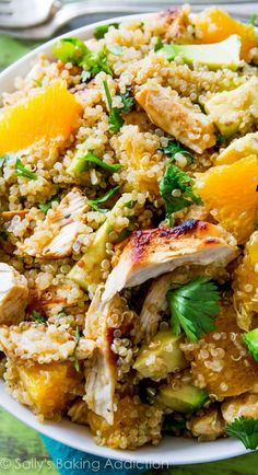 Quinoa Chicken Salad filled with healthy and wholesome ingredients, none of that artificial stuff ... #Salad #SaladDressing #Recipe #Food