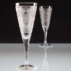 2 Vintage Sektgläser Schleuderstern Linien Schliff Sektglas Kristall Gläser U4O