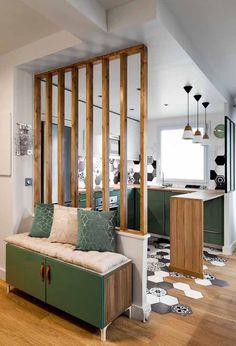 Luxury kitchen: 65 photos of projects to inspire - Home Fashion Trend Küchen Design, Home Design, Decor Interior Design, Living Room Partition Design, Room Partition Designs, Beautiful Kitchen Designs, Beautiful Kitchens, Living Room Designs, Living Room Decor
