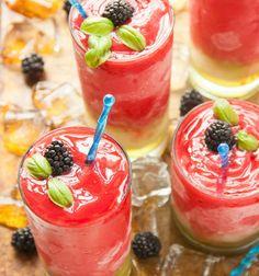 Lemonade with Blackberry and Basil Leaves