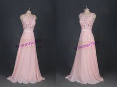 2016 long pearl pink chiffon prom dresses with by PrincesssBride