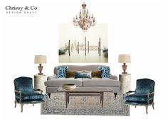 Living Room Client Conceptual: Design By Chrissy & Co Design Savvy. Art: David Burdeny, antique velvet chairs and chandelier. Co Design, Design Concepts, Interior Decorating, Interior Design, David Burdeny, Living Room Decor, Velvet Chairs, Chandelier, Conceptual Design