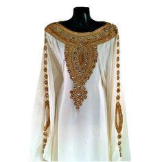Egyptian Goddess Abaya Caftan, Gold Embellished Kaftan Dress, Kaftan... ($165) ❤ liked on Polyvore featuring long kaftan, maxi kaftan, white kaftan, long white kaftan and plus size caftans