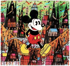 """Mickey Mouse, c.1988 Formatting Hand-signed Photolithograph    22 x 24 in  56 x 60 cm Hand-signed """"Howard Finster"""" in marker by the artist  [less than 50 hand-signed exist; very rare]"""