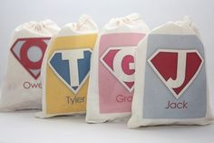 Superhero Personalized Cotton Favor Bags  Set of 6 by papernook- great idea for all these birthday parties!