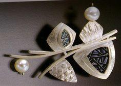 Loretta Anne Castagna ~ polymer clay, sterling silver, freshwater pearls, nerikomi canework, fabricated brooch