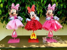 Minnie Mouse Tutu Birthday Decoration Tutu pink OR red version wood table centerpiece favor for Birthday or Baby Shower ONE PIECE Decoration