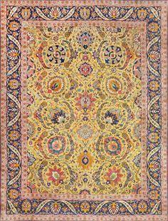 antique persian sickle leaf carpet 47362 main Antique Persian Tabriz Sickle Leaf Carpet 47362