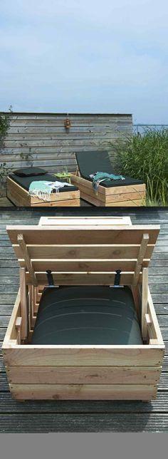 banc jardin bois idée recyclage diy mobilier palette bois banc coussins noirs