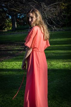 Hope Louise by Peter Berzanskis Wuthering Heights, Grass, Wrap Dress, Editorial, Gown, Photoshoot, Orange, Vintage, Dresses