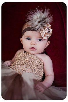 Girls feather headband beige satin flower brown by cutiepiegoodies, $12.00