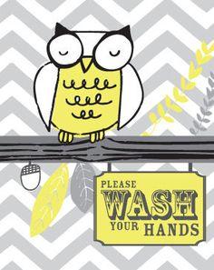 Children Bathroom Art - Owl Set of Three 8x10 - Bathtub, Wash Your Hands, Brush Your Teeth, Chevron, Yellow and Gray, via Etsy.
