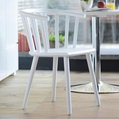 Click to zoom - Nimes beech wood dining chair white