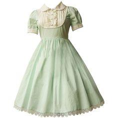 Partiss Women's Light Green Cotton Lolita Dress (4.150 RUB) ❤ liked on Polyvore featuring dresses, cotton dresses, green cotton dress, light green dress, cotton day dresses and green dress
