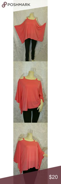Sunny Leigh Top The color of this Sunny Leigh top is a cross between a pretty coral and pink. Cut outs on the shoulders and wide attached sleeves makes this a great fashion statement. Great fabric. Note: It is labeled size Small BUT its cut big more like a size Medium.  Like new condition. Sunny Leigh Tops
