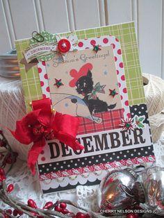 retro christmas card-BLACK SCOTTIE dog christmas card-december greetings handmade card