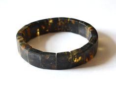 Black Amber Men Bracelet Natural Mens Jewelry Amber For Men Masculine Dude Bracelet Dark Night Bracelet by KARUBA on Etsy