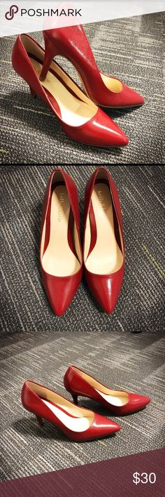 Red leather pumps -- like new Red leather pumps, worn for less than an hour indoors. Kelly & Katie Shoes Heels