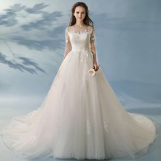 Elegant A-Line / Princess Ivory Wedding Dresses 2017 Sleeves Appliques Lace Ruffle Tulle Backless Chapel Train Chapel Train, Lace Ruffle, Hemline, Backless, Poses, Princess, Elegant, Wedding Dresses, Appliques