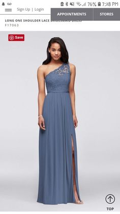 6bec9029b9a Davids Bridal Bridesmaid Dress Size 6 Steel Blue Long One Shoulder Lace  Ribbon  fashion