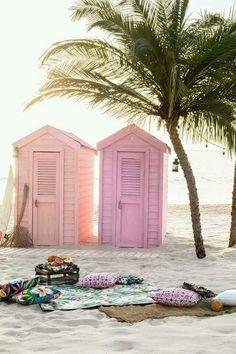 Pastel shacks on the beach