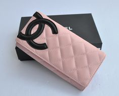 98d48a0147cd50 Chanel Bi-Fold Cambon Wallets Black CC 164 Pink Chanel Outfit, Chanel Purse,
