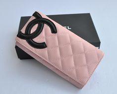 Chanel Bi-Fold Cambon Wallets Black CC 164 Pink
