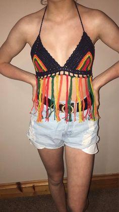 Cotton crochet top B/C cup size. Handmade with love Boho Festival Fashion, Boho Fashion, Bikini Tops, Bikinis, Swimwear, Crochet Top, My Etsy Shop, Trending Outfits, Shopping