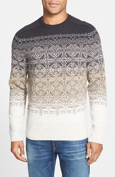 Victorinox Swiss Army® 'Fair Isle Ombré' Tailored Fit Wool Blend Crewneck Sweater, Ombré shading and a Fair Isle jacquard pattern define a slim-fitting crewneck sweater knit from a soft wool blend.