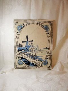 Blue Deflt Crewel Embroidery Sailboat by LuckyPennyTrading on Etsy