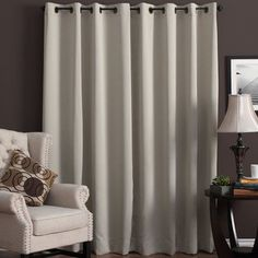 Ultimate Blackout Grommet Top Patio Curtain Panel - 112 x 84 (Putty), Beige(Polyester, Solid) Baby Room Curtains, Patio Curtains, Yellow Curtains, Cool Curtains, Colorful Curtains, Curtain Fabric, Baby Room Decor, White Writing Desk, Patio Windows