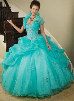Cheap 2014 quinceanera dresses, Buy Quality dresses for 15 directly from China quinceanera dresses Suppliers: Stunning 2014 Quinceanera Dress for 15 Years Appliques Beaded Vestido De Festa Masquerade Ball Gowns with Jacket Organza Quinceanera Dresses 2016, Turquoise Quinceanera Dresses, Robes Quinceanera, Dressy Dresses, 15 Dresses, Bridesmaid Dresses, Wedding Dresses, Gown With Jacket, Bolero Jacket