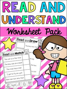 This Read and Understand Worksheet Pack is a great resource to help improve your students' reading comprehension skills. Many students often read without truly understanding the meaning behind what they are reading. This pack features 22 worksheets in 2 different styles which are designed to encourage students to think about what they are reading by matching and drawing related pictures.