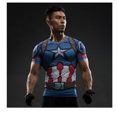 Captain America Civil War Tee Printed T-shirts Men iron man cosplay costumes Fitness Compression Clothing Male Crossfit Tops Super Hero Shirts, T Shirt Sport, Shirt Men, Tee Shirt, Team Cap, Spandex, Workout Shirts, Workout Gear, Mens Fitness