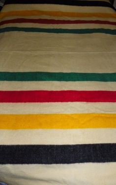 Vintage Hudson Bay Company Cream 4 Point Wool Blanket England Stripe 70 X 90 #HudsonBayCompany
