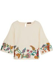 Embroidered matelassé top