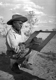 Albert Namatjira UM ARTISTA ABORÍGENE em Alice Springs.