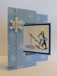 PENGUIN FISHING ON ICE  Reired. Sells for 7.99.     L@@K @examples Sold separately are the other items used in the examples. Made by Art Impressions Rubber stamps. You can purchase all items in my ebay store: Pat's Rubber Stamps & Scrapbooks, Click on the picture & see the listing , or call me 423-357-4334 with order, We take PayPal. You get FREE SHIPPING ON PHONE ORDERS of $30.00 or more. If it says sold I have more. Use my search engine to find other items you are interested in
